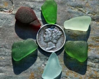 Red, Aqua, Teal, Seafoam, Green Seaglass. Undrilled. Genuine. 6 Pieces. Lot B6