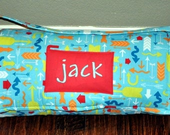 Nap Mat - Monogrammed Which Way Arrows Nap Mat with Red Double-sided Minky or Minky Dot Blanket