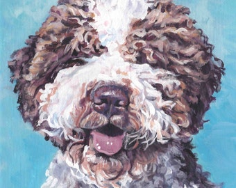 Lagotto Romagnolo dog CANVAS art print of LA Shepard painting 8x8