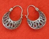 Balinese Sterling Silver Hoop Creolen Earrings / silver 925 / Bali handmade jewelry / 1 inch / (#619)