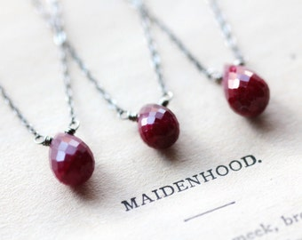 Valentine's Day Necklace July Birthstone Necklace Ruby Sterling Silver Necklace Free Shipping Red Gemstone Pendant Layering Necklace