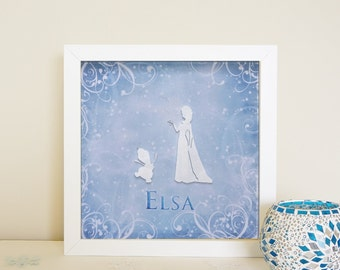 Personalized Princess (Frozen Inspired) Paper Cut Wall Art Frame (2 Designs available) (Free shipping within Australia)