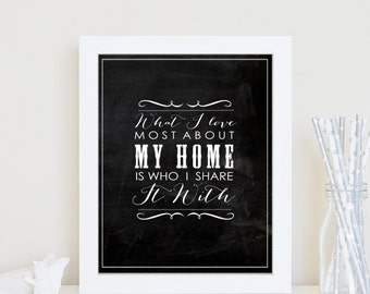 Chalkboard print- What I love most about my home -8x10 inch Inspiring quoteTypography.