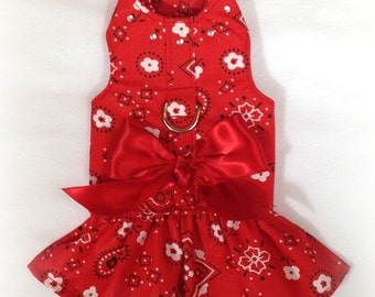 Red Bandana Harness Dog Dress Size XXXS through MEDIUM by Doogie Couture