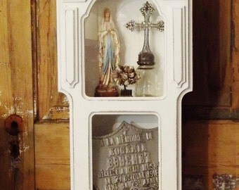 Vintage Clock Case Large Wood and Glass Display Cabinet