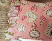 French Perfume Pillow Pink Pretty Roses Paris 1900 Perfectly Shabby Chic