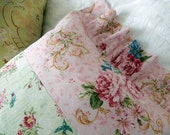 Greens Bluebirds Pink Roses Romanic Letterings So Shabby Chic Pillow