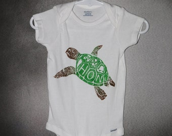 Baby Onesie, White, with Green and Brown Honu (Hawaiian Sea Turtle) Block Print