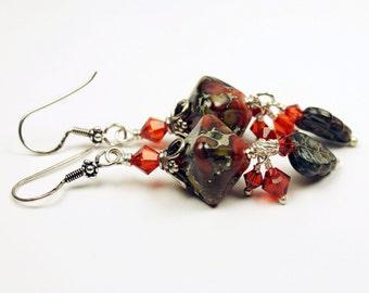Handmade Lampwork Earrings Sterling Silver - SRAJD Coral Brown Beaded Jewelry 'Autumn Leaves'