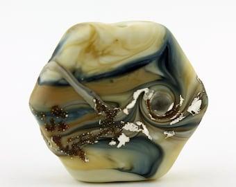 SRA Lampwork Glass Bead Hexagon Focal Beige Blue Brown Silver Organic Rustic