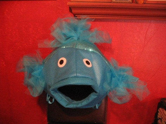Turquoise beta fish costume one size fits all by lauriesgift for Fish head costume