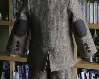 Downtown Abbey Inspired herringbone vest jacket and knicker in brown wool set