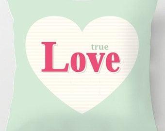 True Love retro quote valentine cushion / pillow