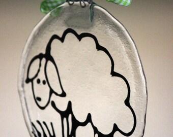 Cute Sheep Fused Glass Ornament