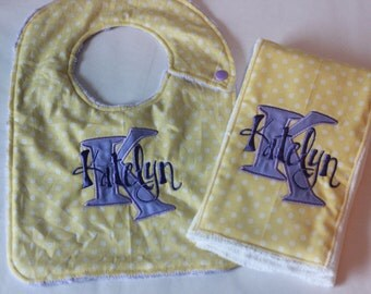 Reserved Burp Cloth and Bib Set for kemcguffin