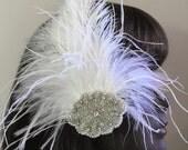 Bridal Rhinestone Fascinator White Feather Beaded Rhinestone Accent Ostrich Plumes