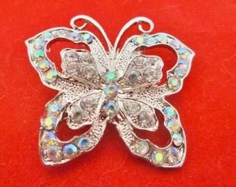 """Vintage 1.75"""" art deco silver tone brooch with aurora borealis rhinestones in great condition, appears unworn"""