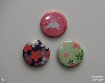 Lucky Rabbit Origami Button or Magnet set of 3