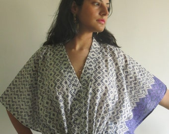 Gray Geometrical Nursing Maternity Hosptial Gown Delivery Kaftan Perfect loungewear,as getting ready, beachwear gift for moms and to be moms