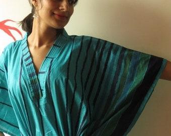 Teal Striped  Kaftan - Pajamas to live in, beachwear Caftan, spa robe..make great Anniversary or Birthday gifts, new mom Gift