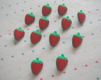 Red Strawberry Plastic Shank Buttons, Fruit Buttons, 20 mm (12)