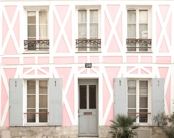 Paris Photography - The Pink House Rue Cremieux, Architecture Photo, France Travel Fine Art Photograph, French Home Decor, Large Wall Art