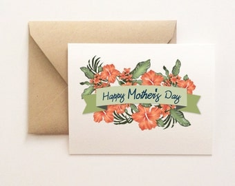 Hibiscus Happy Mother's Day Card