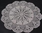 "Crochet doily Hearts Lace, Ecru, 15"", handmade, Free US Shipping"