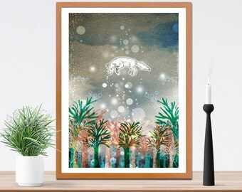 Rise Art Fine Art Print- Fox Artwork - Illustrated Digital Print- Nature - Animal Lovers - Gift Idea - Wall Art- A4 A3 Print