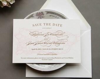 Letterpress Wedding Invitation Set - Destination Wedding - Puerto Rico Save the Date