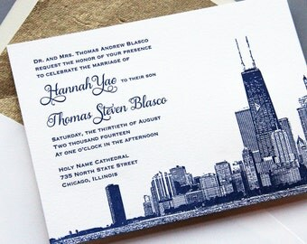 letterpress sample wedding invitation set chicago skyline