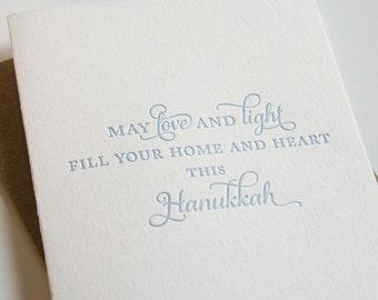 Letterpress Hanukkah Card Letterpress Holiday Cards  - Love and Light