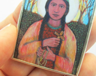 Saint Kateri Tekakwitha Ornament - Native American - Lily of the Mohawks - Algonquin -  Soldered - Confirmation Gift