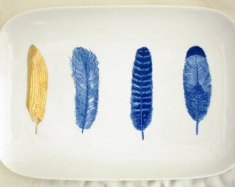 Porcelain Plates with 23K Gold Feather Design - La Plume Doree