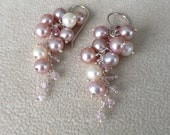 Freshwater Pearls and Pink Tourmaline Cluster Earrings in Sterling Silver