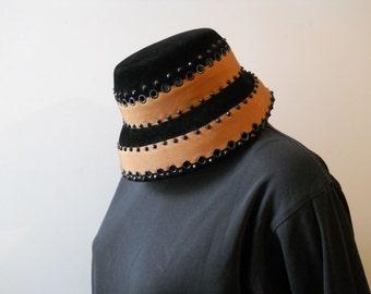 VTG 60s Studded Eyelet Velvet Grossgrain Trim Italy Hat