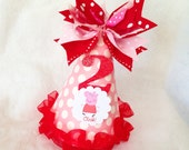 Pink and Red Peppa Pig Birthday Party Hat in Polka Dots