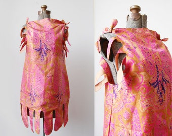 Petal-Petal Silk Sheath• 1970's Artist's Dress • 1970's Sheath Dress