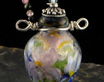Iris Floral Lampwork Bead Vessel -- SRA