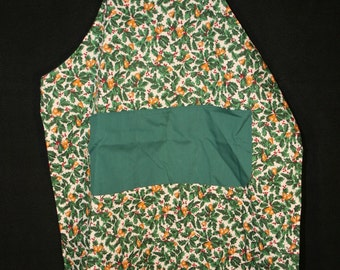 Apron, Christmas, Reversible, Holly Print