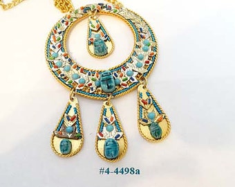 FREE SHIP Majestic Scarab Colorful Pendant And Chain (4-4498)