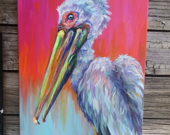 Wild colors fluffy original pelican 16x20