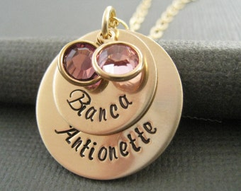 Hand Stamped Mommy Jewelry - Personalized Necklace - Gold Toned Custom Necklace