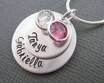 Hand Stamped Mommy Jewelry - Personalized Necklace - SIlver Tone Custom Necklace