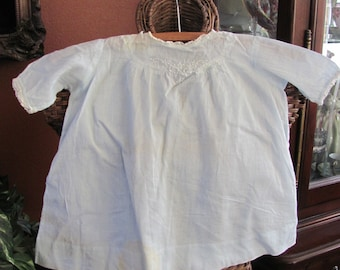 Antique Sheer Embroidered Blue Cotton Baby Gown Dress