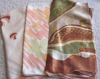 Lot of 3 Vintage Ladies Acetate Fashion Scarf Affordable Scarves  - (#9)