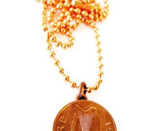 1982 Authentic IRISH Coin Necklace-1 PENNY  Ireland Jewlery