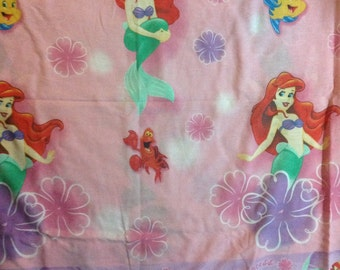 Ariel   Little Mermaid pink FULL  flat bed  sheet     Disney ArielA