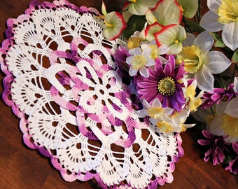 White and Purple doily