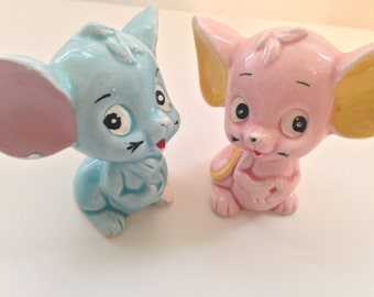 SALE! Vintage Mouse Figurines // 1960s // Made in Japan // Big Eyed Mice // Kitschy Decor // Unique Collectibles // Cartoon Mice